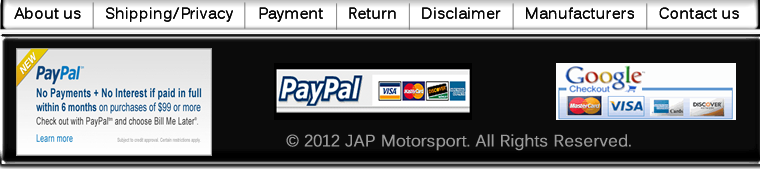 JAP Motorsport.net is a official website of Japan parts racing for Honda Civic, Acura Integra, Mitsubishi Evolution and Subaru Impreza. We are your best street auto parts & racing solution online store.